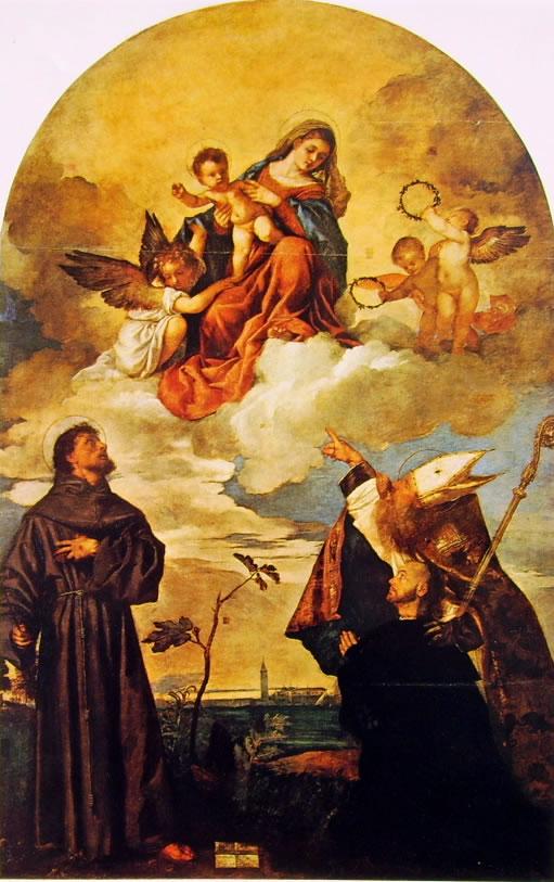 Tiziano: Madonna in gloria con il bambino e i Santi Francesco e Alvise e il donatore Luigi Gozzi