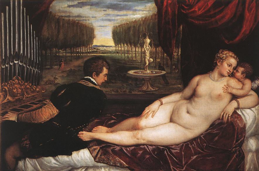 Tiziano: Venere con organista amorino e cagnolino