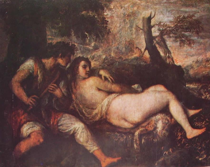Tiziano: Ninfa e Pastore (Vienna)