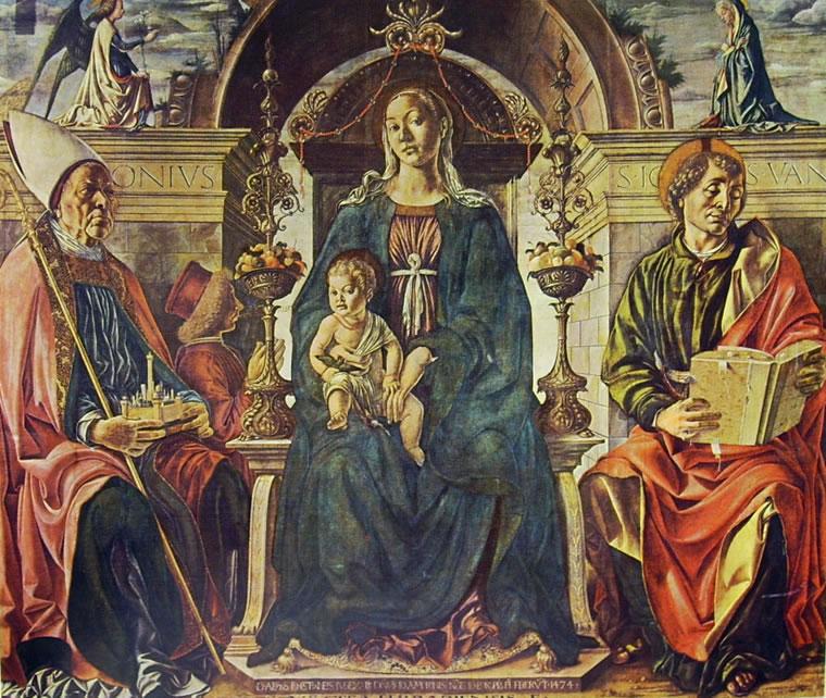 Francesco del Cossa: Madonna con il bambino e i santi Petronio e Giovanni Evangelista
