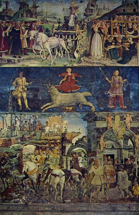 Trionfo di Minerva, Caccia, Borso d'Este rende giustizia e Potatura della vite