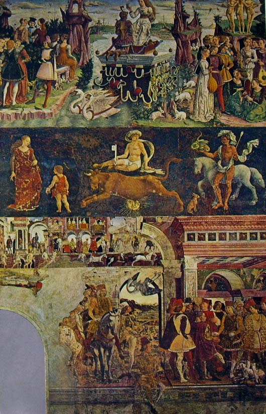 Trionfo di Venere, Gare di caccia e Borso e il buffone Scocola