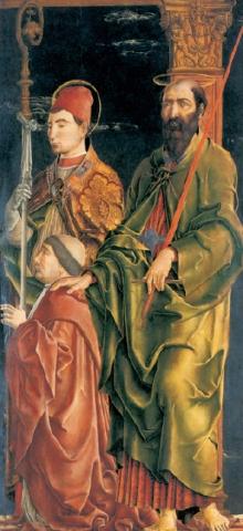 Cosmè Tura: Niccolò Roverella con i santi Maurilio e Paolo