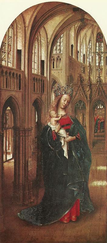 Jan van Eyck (1390 circa – 1441):Madonna in una chiesa gotica