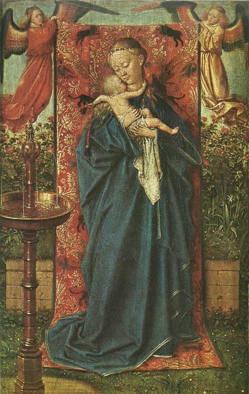 Vergine alla fontana, olio su tavola, cm. 19 x 12, anno 1439, Musée Royal des Beaux-Arts, Anversa.