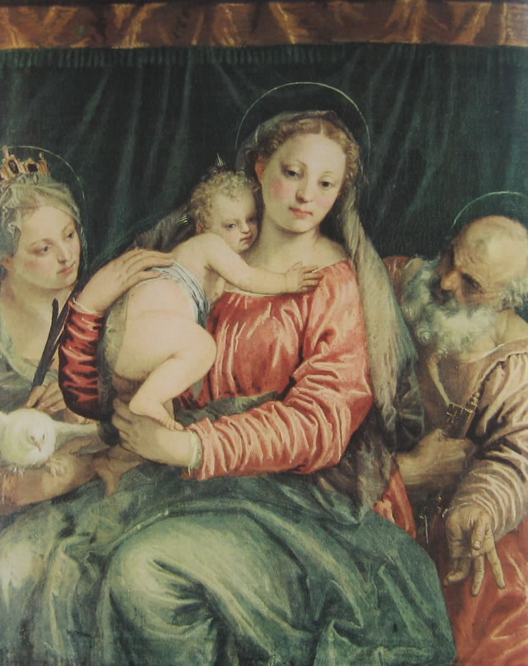 Veronese: Madonna col bambino, una santa martire e San Pietro