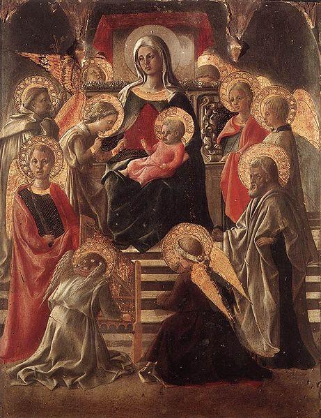 Filippo Lippi: Madonna in trono fra angeli e santi