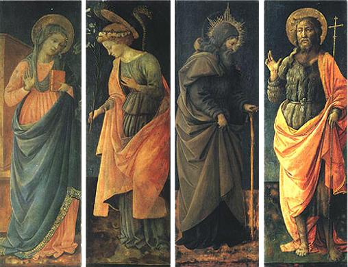 Filippo Lippi: Annunciazione con angelo e santi - Vergine Annunziata, Angelo Annunziante, sant'Antonio Abate e san Giovanni Battista