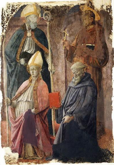 Filippo Lippi: Sant'Agostino, San Francesco, San Benedetto e un santo vescovo