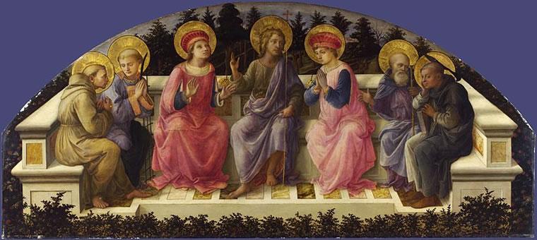Filippo Lippi: Sette santi (Londra), 1453-59, cm. 68 x 151,5