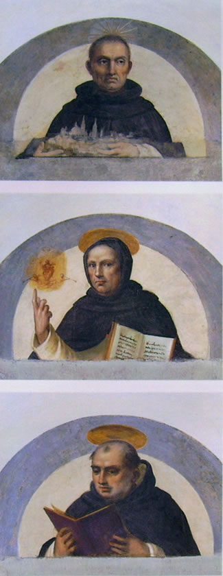 Fra' Bartolomeo: Beato Ambrogio e i Santi Vincenzo Ferrer e Tommaso d'Aquino (lunette affrescate)