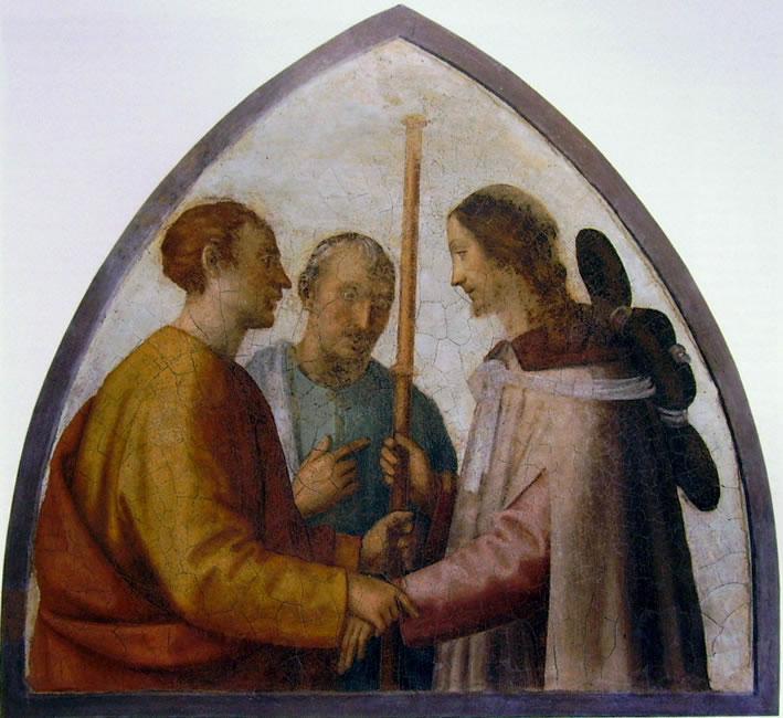 """Fra' Bartolomeo: Cristo e i pellegrini sulla strada di Emmaus (affresco """"staccato"""")"""