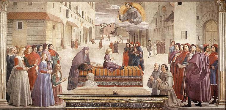 Domenico Ghirlandaio: Cappella Sassetti - Resurrezione del ragazzo