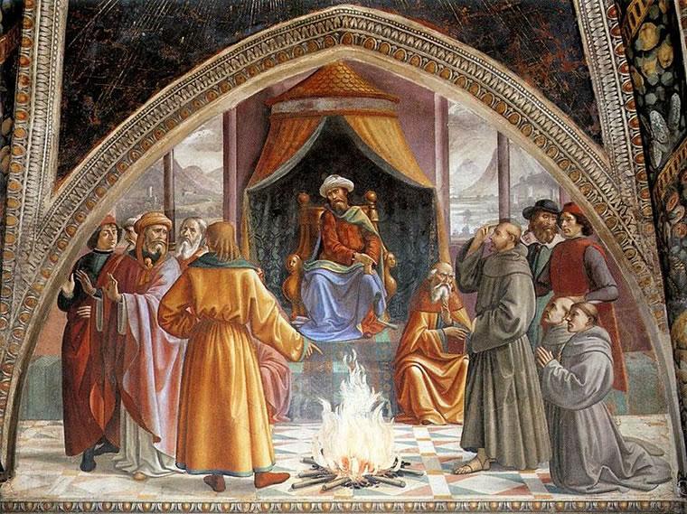 Domenico Ghirlandaio: Cappella Sassetti - Prova del fuoco davanti al sultano