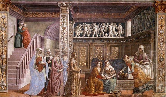 Domenico Ghirlandaio: Cappella Tornabuoni - Natività di Maria (Natività della Vergine)