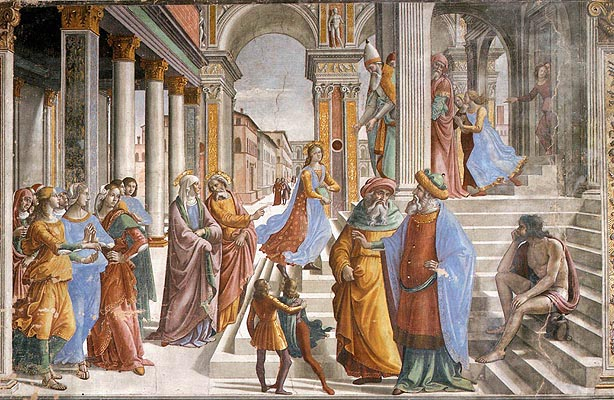 Domenico Ghirlandaio:Cappella Tornabuoni - Presentazione al Tempio della Vergine
