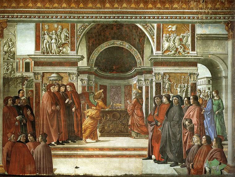 Domenico Ghirlandaio: Cappella Tornabuoni - Apparizione dell'angelo a Zaccaria