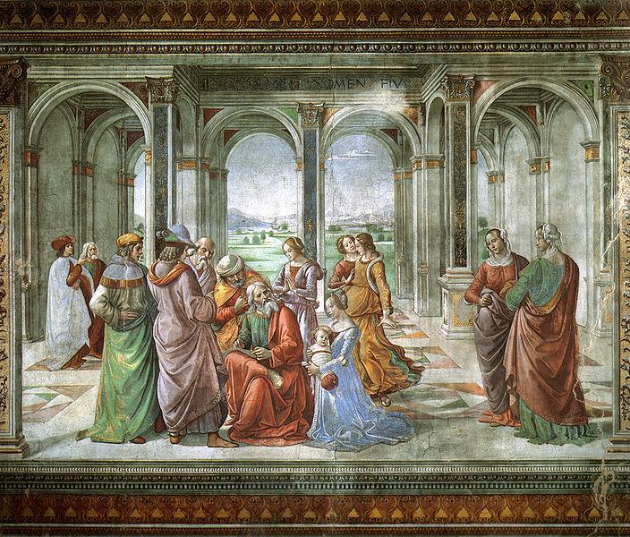 Domenico Ghirlandaio:Cappella Tornabuoni - Zaccaria, diventato muto, scrive il nome da imporre al figlio