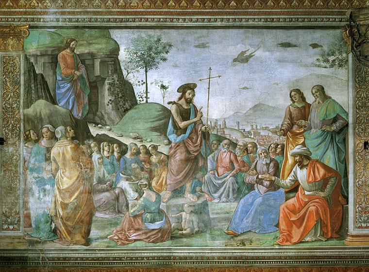 Domenico Ghirlandaio:Cappella Tornabuoni - Predicazione del Battista