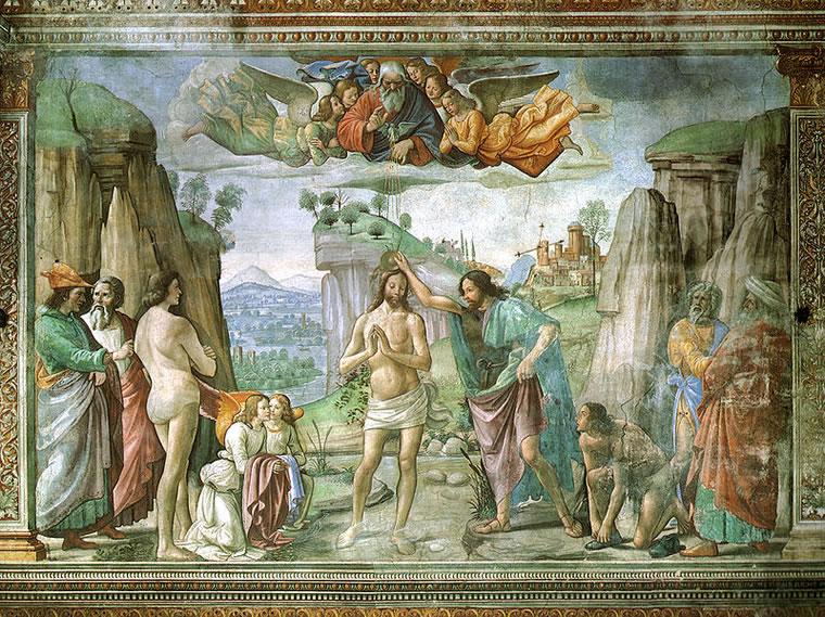 Domenico Ghirlandaio: Cappella Tornabuoni - Battesimo di Cristo