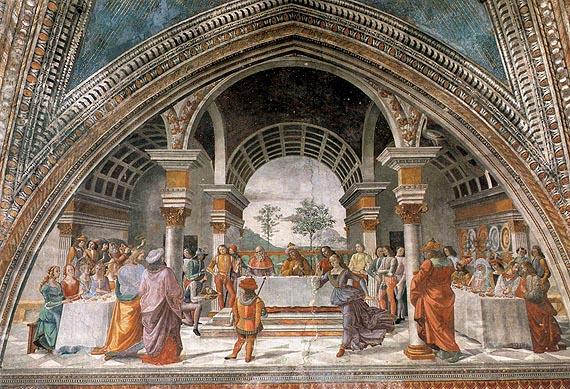 Domenico Ghirlandaio: Cappella Tornabuoni - Banchetto di Erode