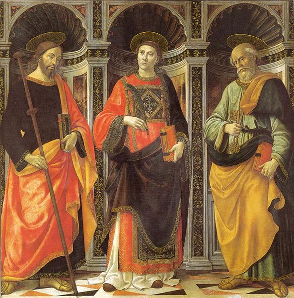 Domenico Ghirlandaio: Santo Stefano tra i santi Jacopo e Pietro