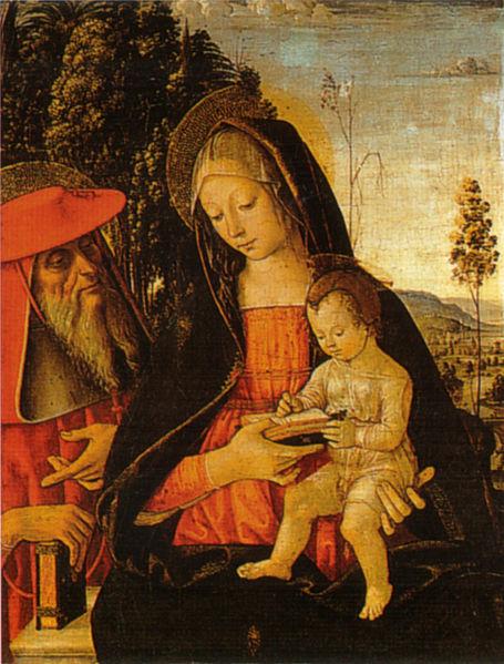 Pinturicchio: Madonna col Bambino scrivente e san Girolamo