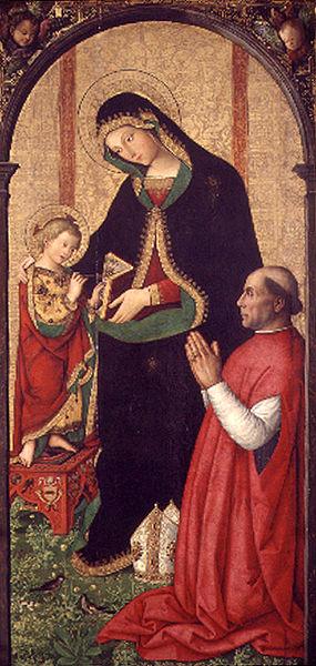 Pinturicchio: Madonna col Bambino scrivente e un vescovo inginocchiato