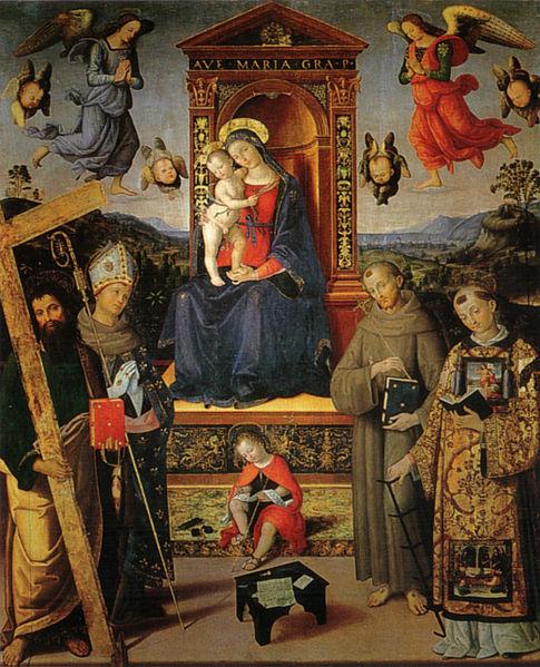 Pinturicchio: Madonna in trono e santi