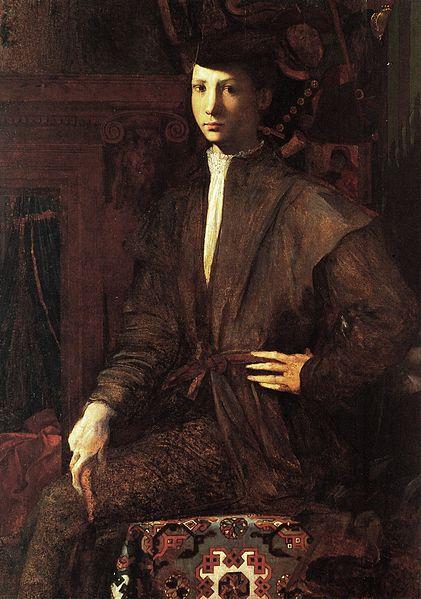 Rosso Fiorentino: Ritratto di giovane seduto con tappeto