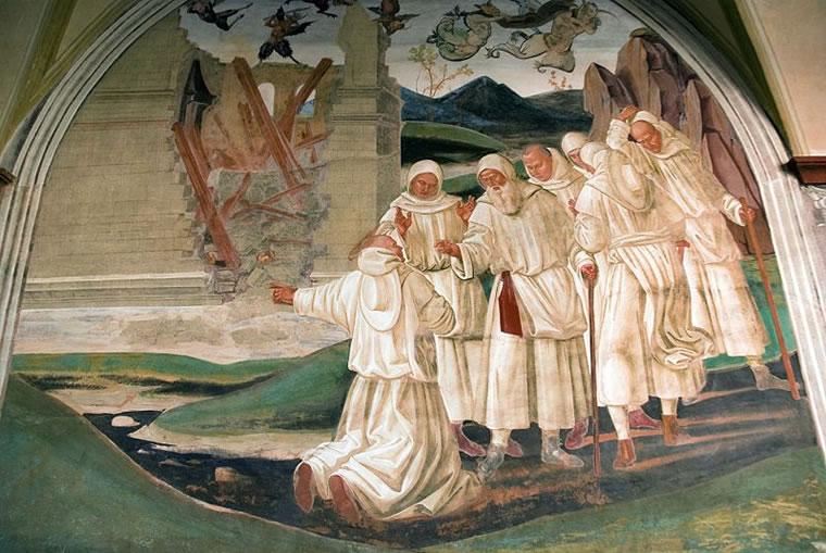 Signorelli: Storie di San Benedetto - Dio punisce Fiorenzo che si era rallegrato che san Benedetto avesse lasciato Subiaco