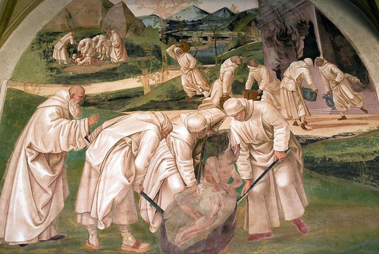 """Luca Signorelli: """"Storie di San Benedetto"""" - San Benedetto esorcizza il diavolo"""