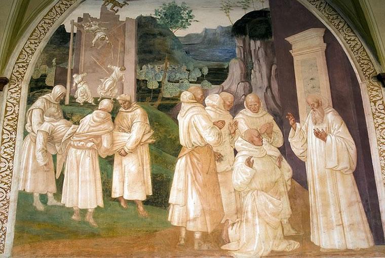 San Benedetto resuscita un monaco ucciso dal crollo di un muro
