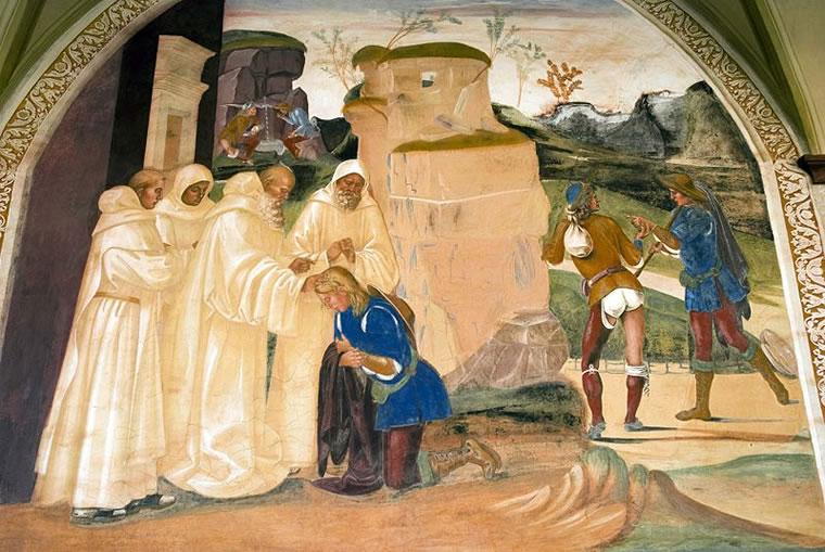 """""""Storie di San Benedetto"""" - San Benedetto rimprovera il fratello del monaco Valeriano per aver violato il digiuno"""