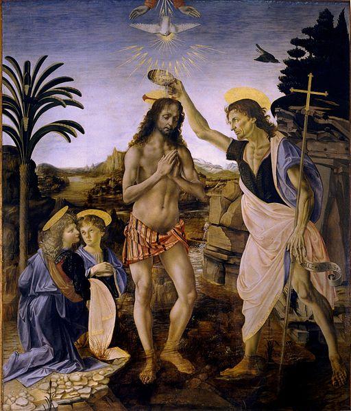 Andrea del Verrocchio: Il Battesimo di Cristo (agli Uffizi)