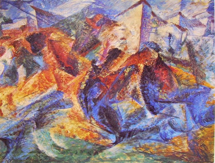 Umberto Boccioni:Cavallo + Cavaliere + Caseggiato