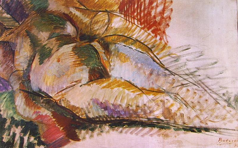 Umberto Boccioni:Nudo simultaneo, cm. 52 x 82 Collezione Toninelli, Milano
