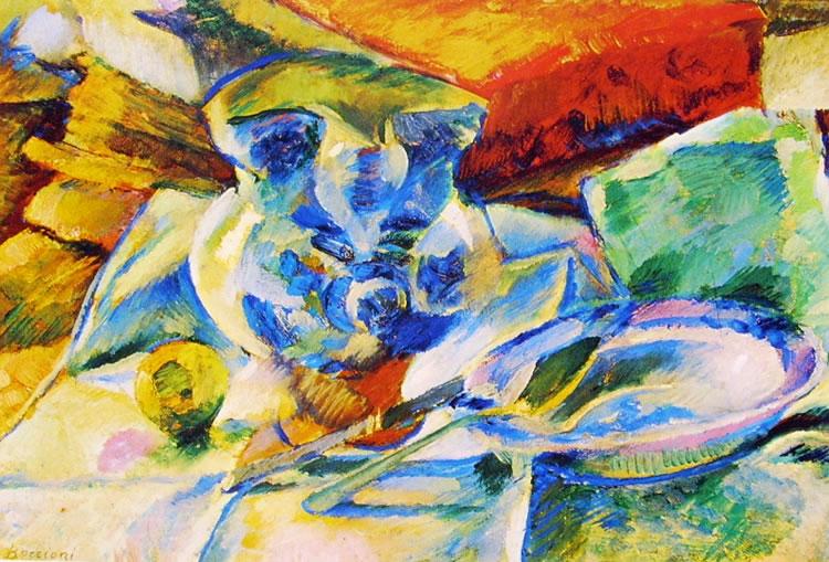 Umberto Boccioni:Natura morta con brocca e scodella