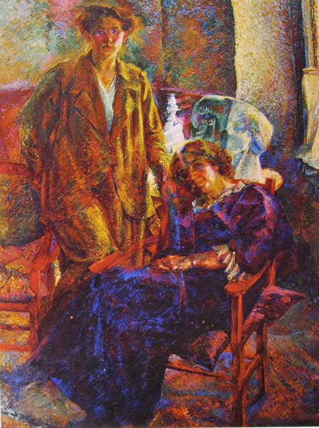 Umberto Boccioni:Le due amiche (Interno con la sorella e la madre)