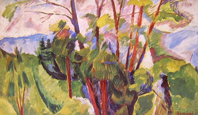 Umberto Boccioni:Paesaggio montuoso, cm. 33 x 55