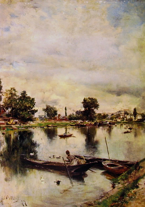 Giovanni Boldini: Paesaggio fluviale, cm. 22,5 x 15,1, proprietà privata