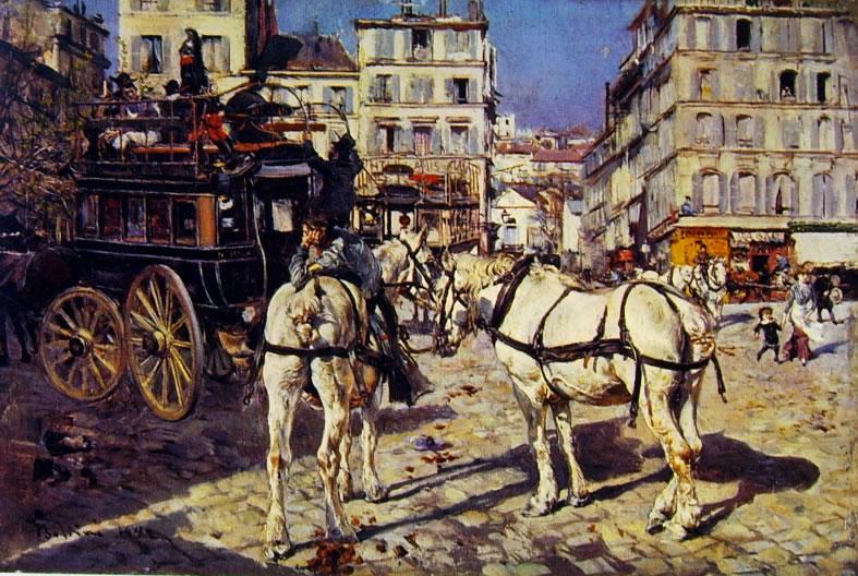 Giovanni Boldini: Omnibus in Place Pigalle a Parigi
