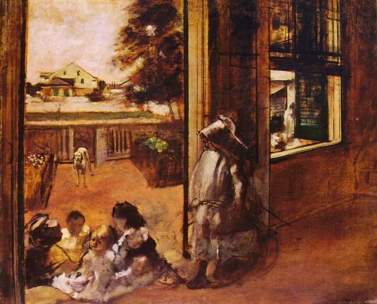 Edgar Degas: Bambini seduti sulla soglia di una casa