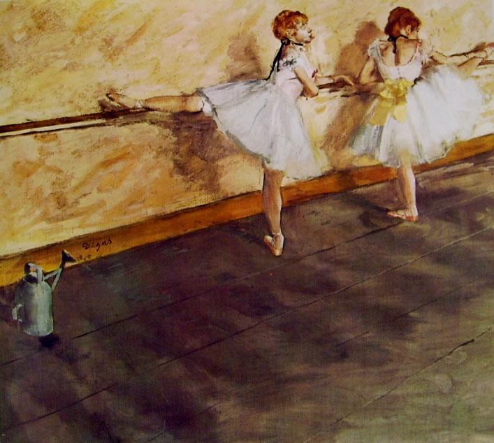 Edgar Degas: Due ballerine alla barra