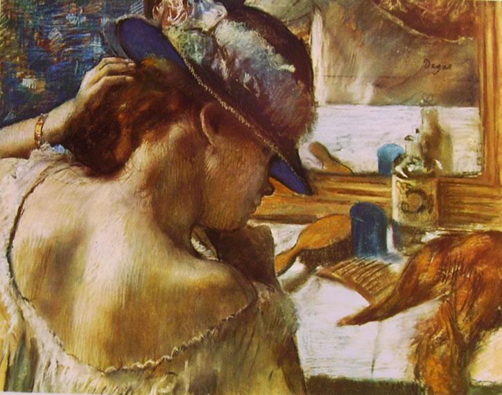 Edgar Degas: Giovane donna allo specchio