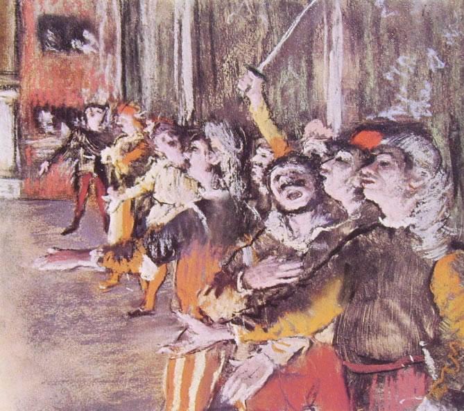 Edgar Degas: Le comparse (Museo d'Orsay), 1877, Pastello su monotipo