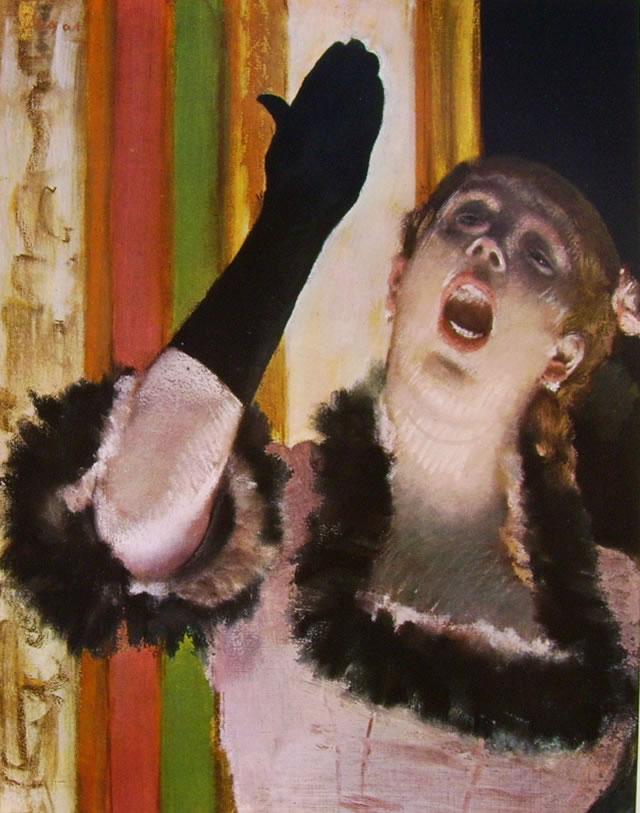 Edgar Degas: Cantante con guanto, 1878 pastello su cartone grigio