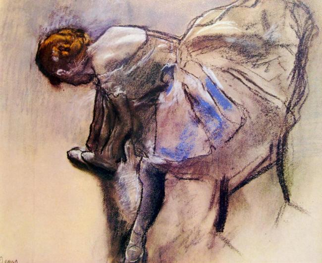 Edgar Degas:Ballerina che si allaccia una scarpetta