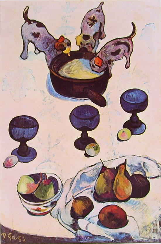 Gauguin: Natura morta con tre cagnolini cm.92 x 63, New York,