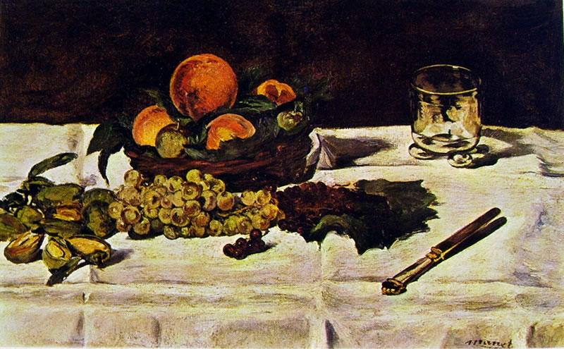 Edouard Manet: Natura morta, frutta su un tavolo